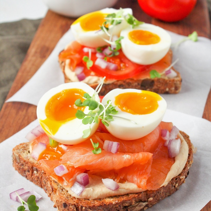 Easy Hummus Toast with Smoked Salmon and Soft Boiled Eggs