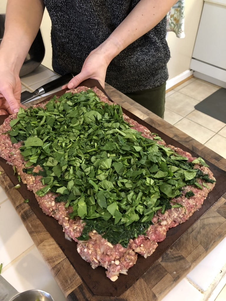 meatloaf with spinach swirl