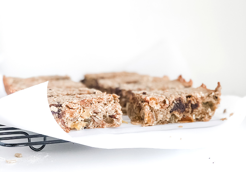 protein granola bars on parchment paper
