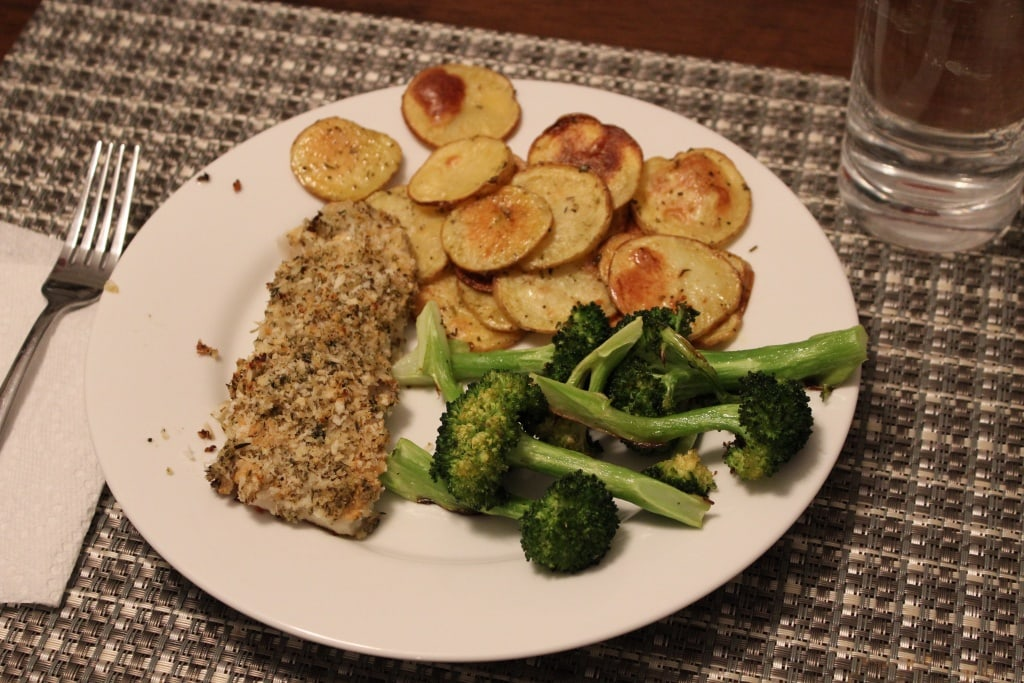 crusted fish with roasted veg