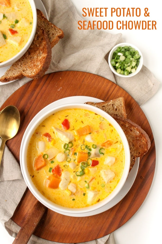 healthy seafood chowder recipe with sweet potato