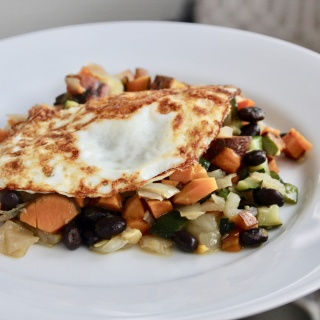 sweet potato hash with fried eggs