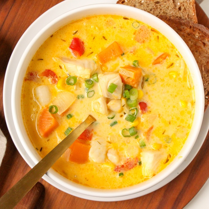 healthy seafood chowder with sweet potato