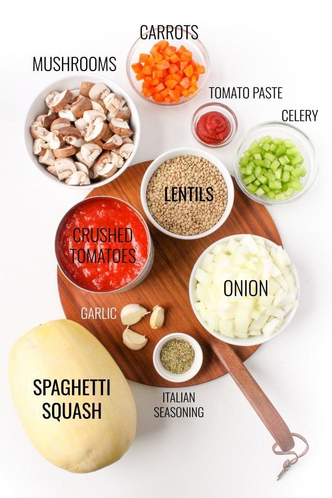 instant pot spaghetti squash lentil bolognese ingredients