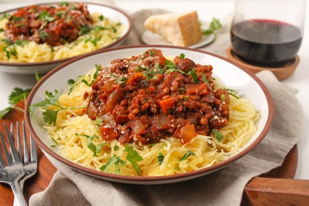instant pot spaghetti squash lentil bolognese