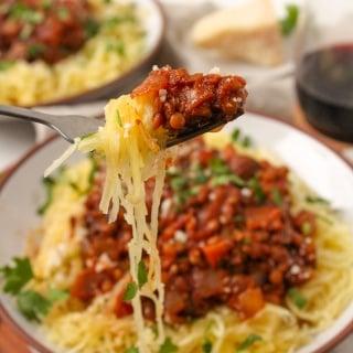 instant pot spaghetti squash lentil bolognese4