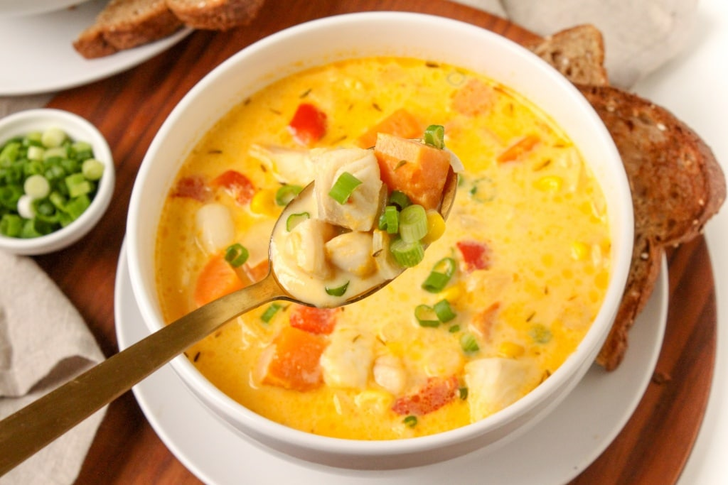 quick easy healthy seafood and sweet potato chowder recipe