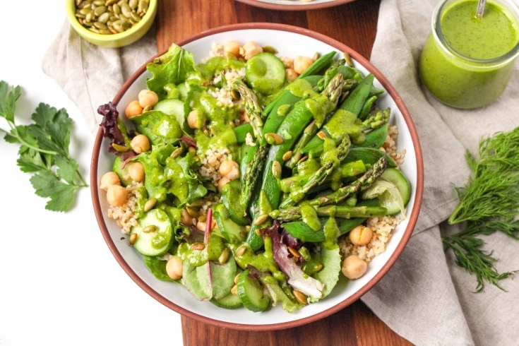 Green Goddess Bowl with Raw Honey Herb Vinaigrette