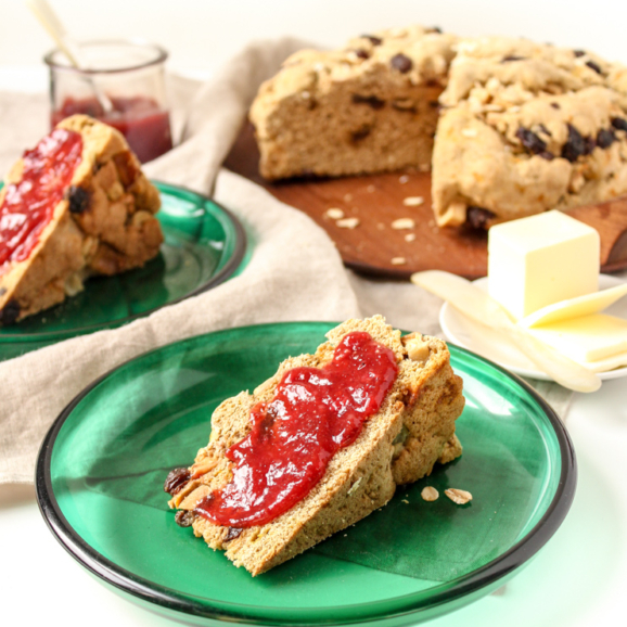 vegan soda bread with jam and butter