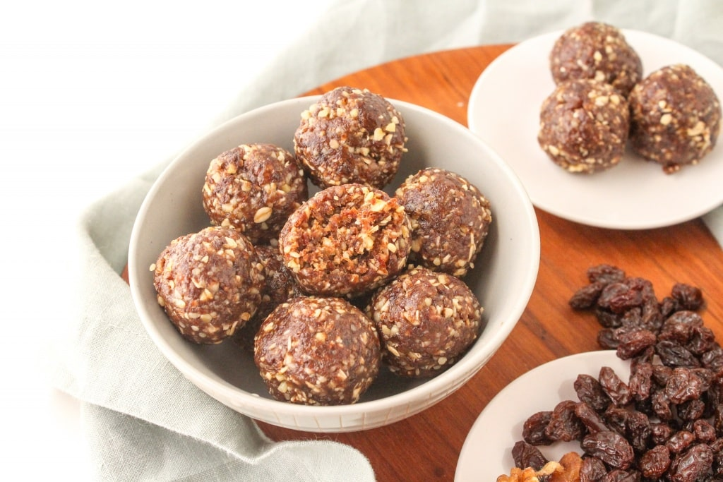 basic no bake energy ball formula recipe raisins almonds oats cinnamon ingredients