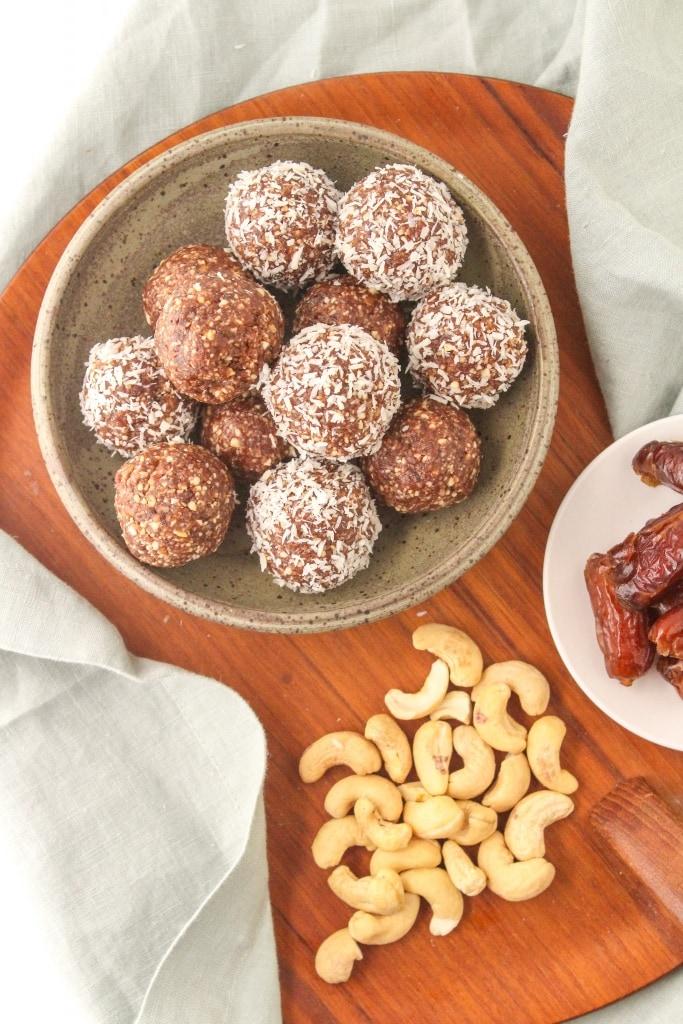 basic no bake energy ball formula recipe dates coconut cashews cocoa powder ingredients