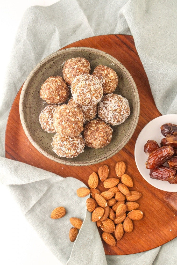 basic no bake energy balls formula recipe Almonds + Dates + Coconut + Cinnamon ingredients