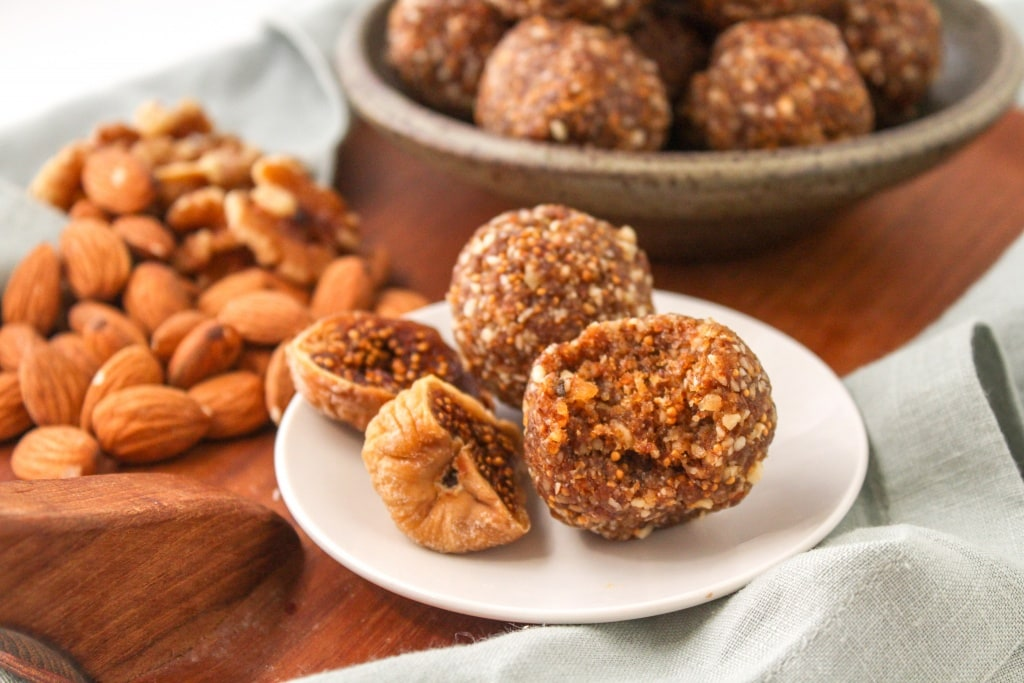 basic no bake energy balls formula recipe ingredients Walnuts + Almonds + Figs + Flax + Vanilla