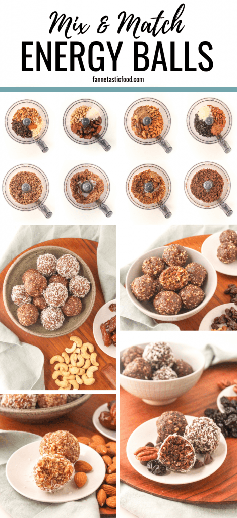 Mix & Match Energy Balls - the perfect formula for totally customizeable, tasty energy balls! Just 4 ingredients, not too sweet, and all vegan + gluten free.