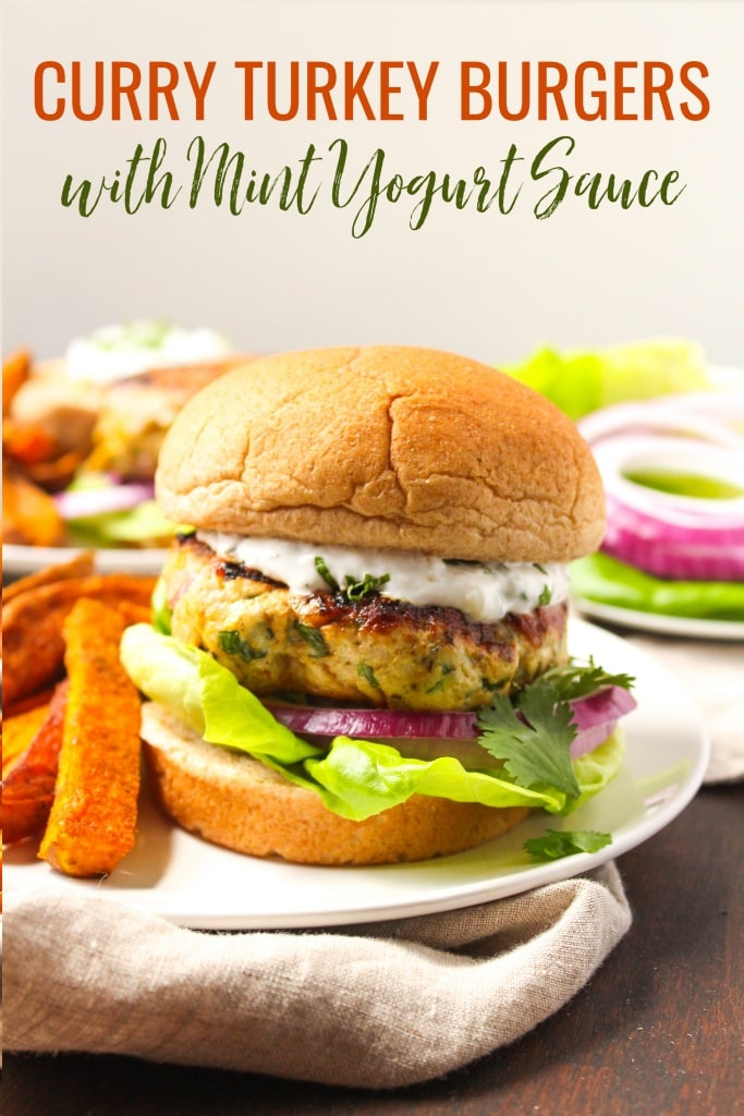 Curry Turkey Burgers with Mint Yogurt Sauce
