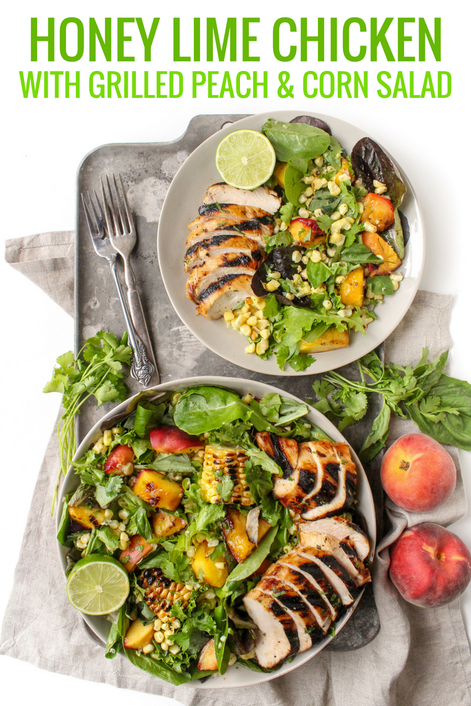 honey lime chicken with grilled peach and corn salad