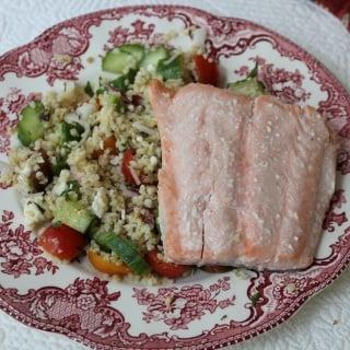 salmon with mediterranean bulgur salad