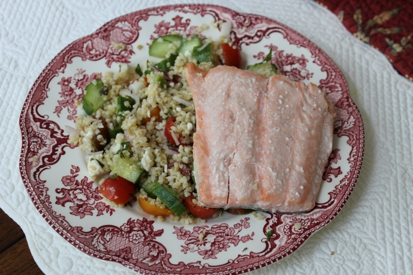 salmon with mediterranean bulgur salad