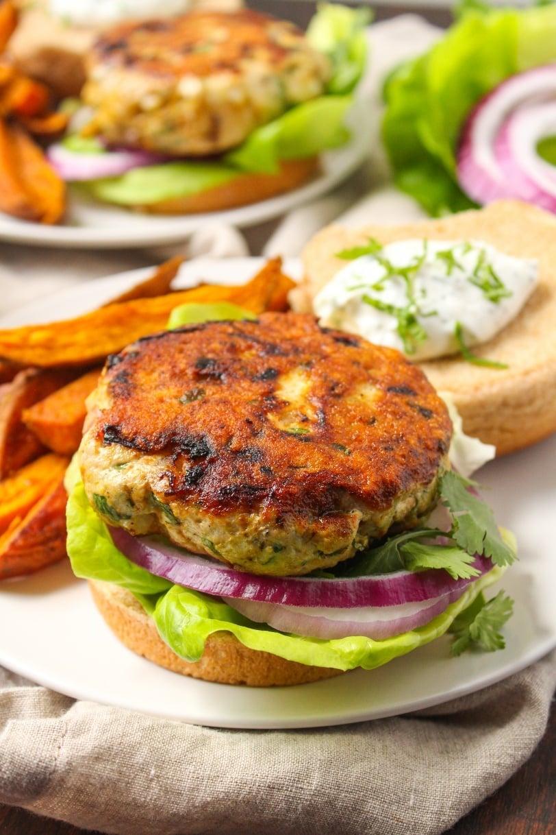 Healthy Turkey Burgers Recipe with Mint Yogurt Sauce