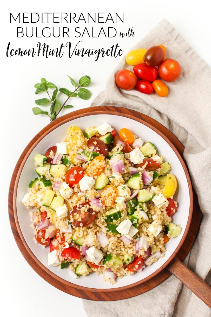 Mediterranean Bulgur Salad with Lemon Mint Vinaigrette