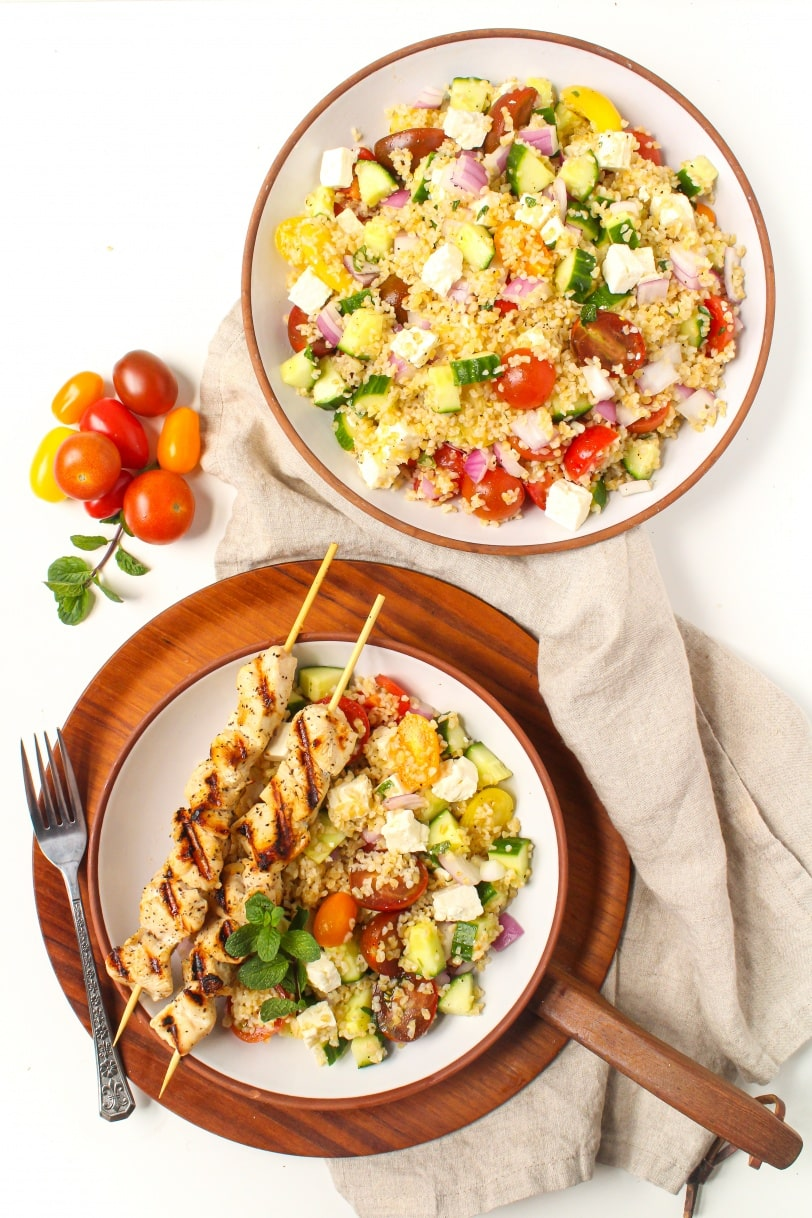 mediterranean bulgur salad with chicken