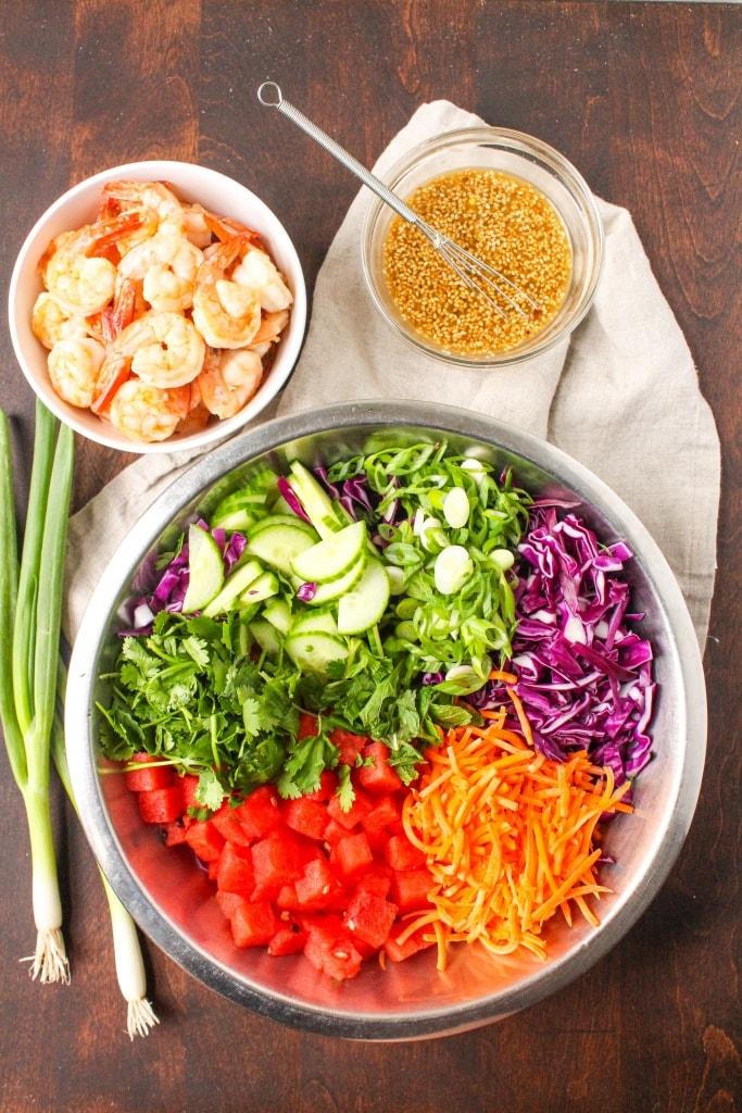 sesame shrimp watermelon salad