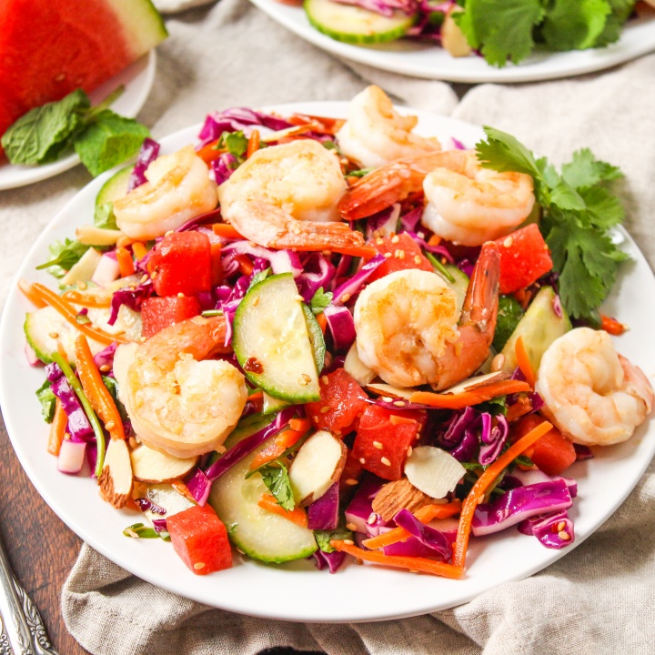 Sesame Shrimp and Watermelon Salad