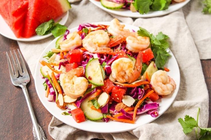 Sesame Shrimp and Watermelon Salad