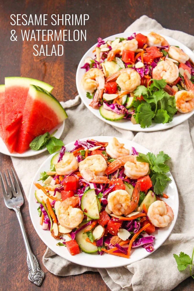 watermelon shrimp sesame salad recipe