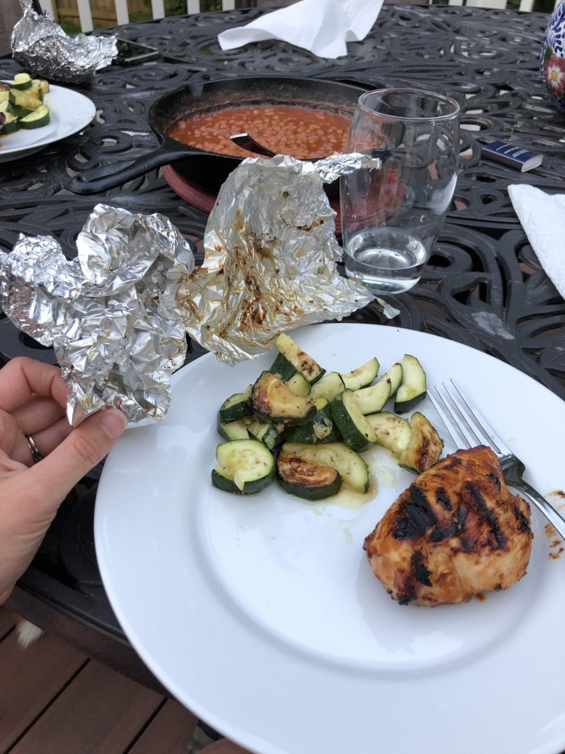 cooking veggies in foil packs on the grill