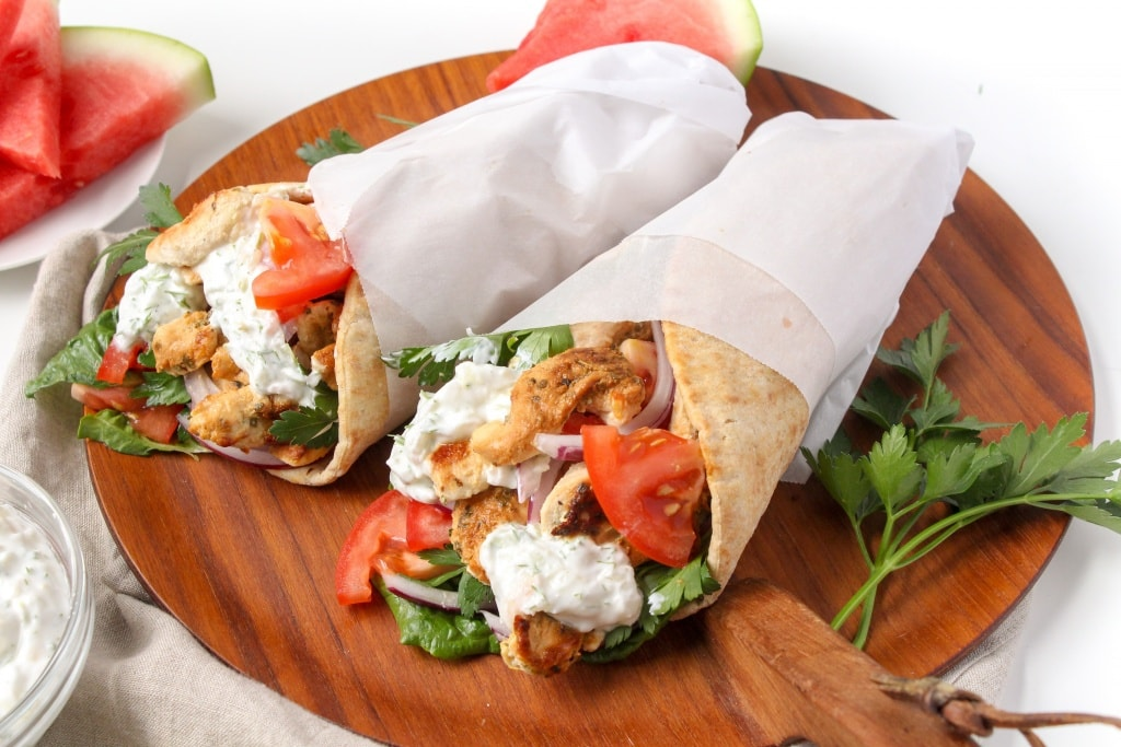 Recipes Using Summer Produce - Chicken Gyros with Watermelon Rind Tzatziki