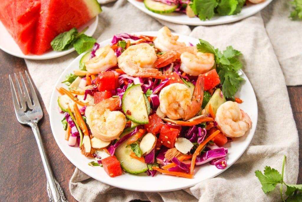 Recipes Using Summer Produce - Sesame Shrimp and Watermelon Salad