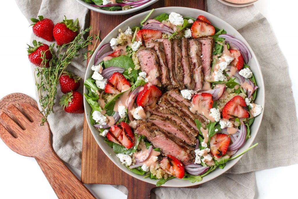 Recipes Using Summer Produce - Grilled Steak and Strawberry Salad with Strawberry Vinaigrette
