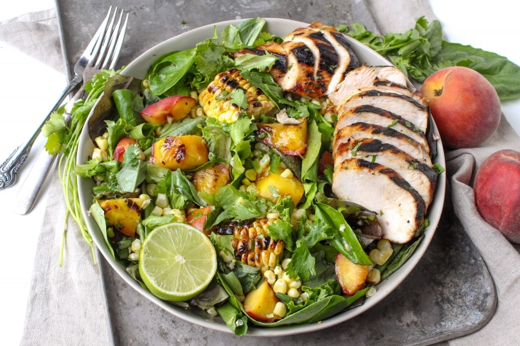 Recipes Using Summer Produce - Honey Lime Grilled Chicken with Grilled Peach and Corn Salad