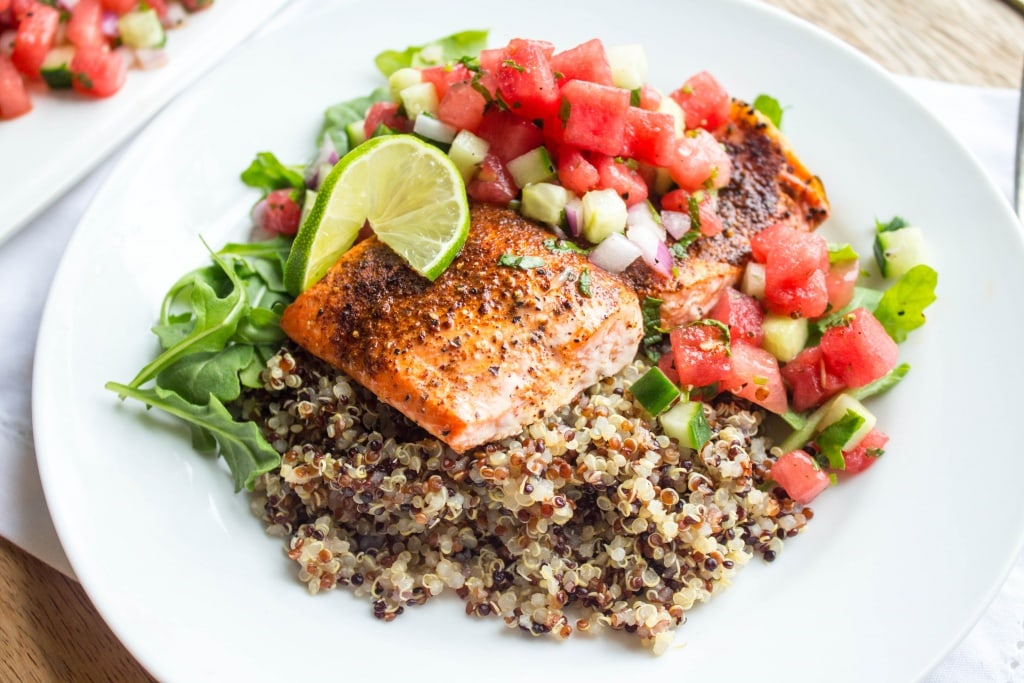 Recipes Using Summer Produce - Salmon with Watermelon Salsa