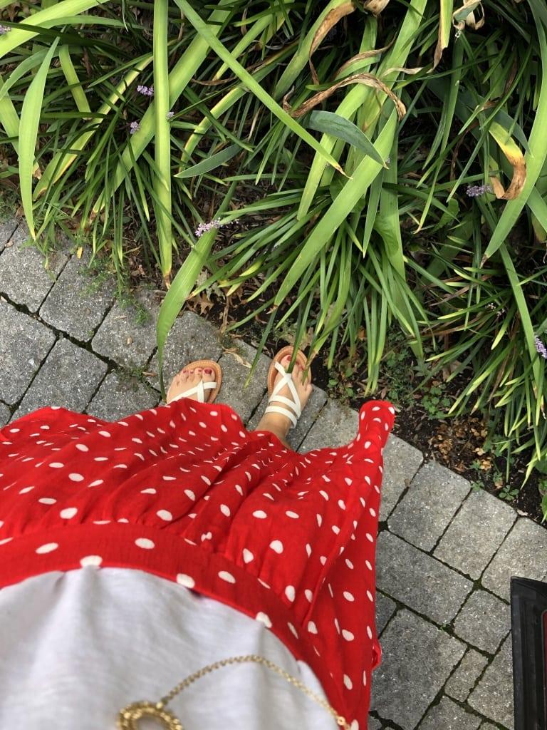 stitch fix red white polka dot skirt