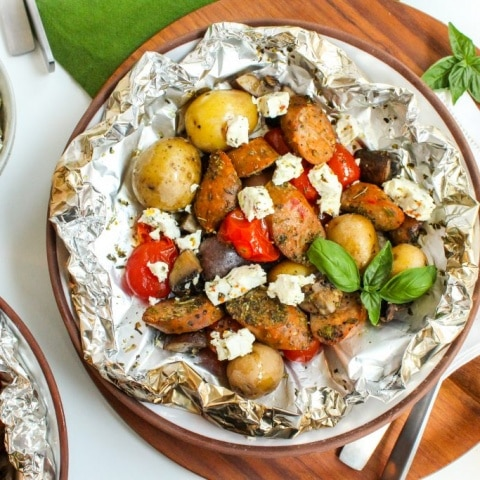 Grilled Italian Sausage & Veggie Foil Packets