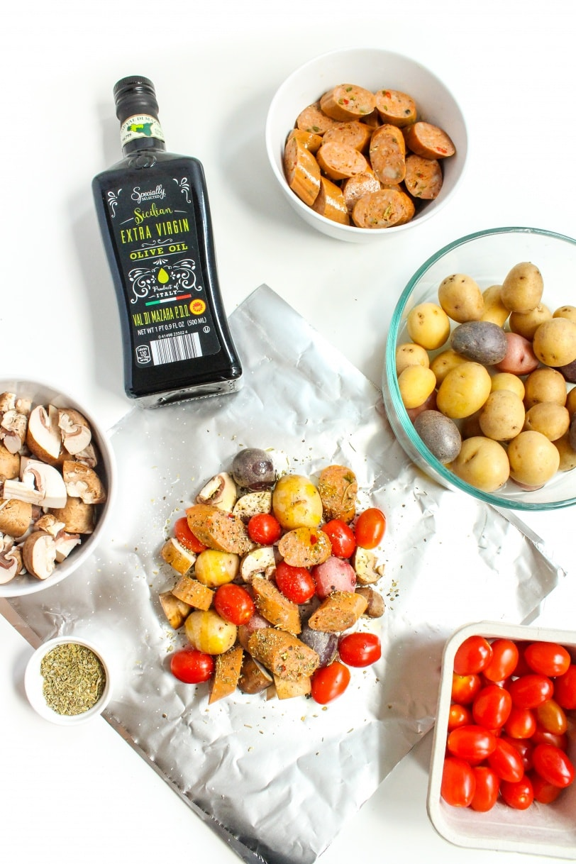 how to make sausage and veggie foil packets