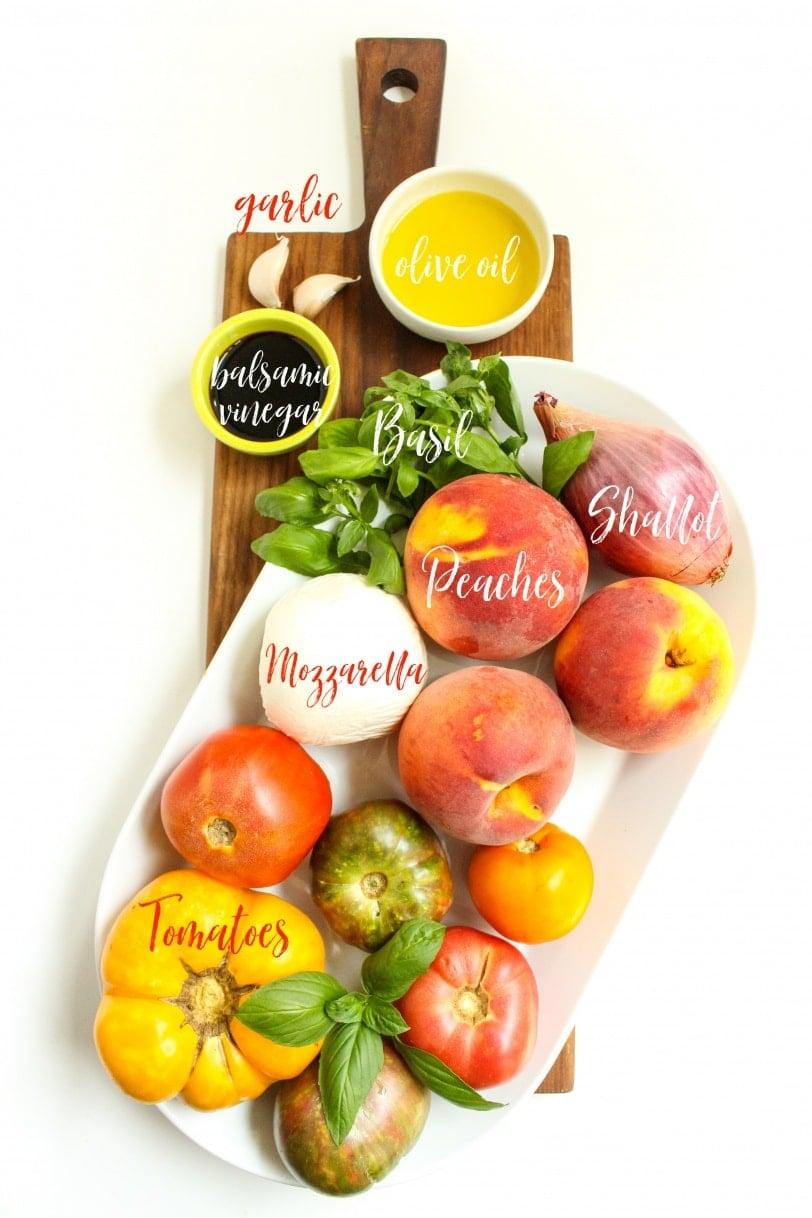 heirloom tomato peach caprese ingredients