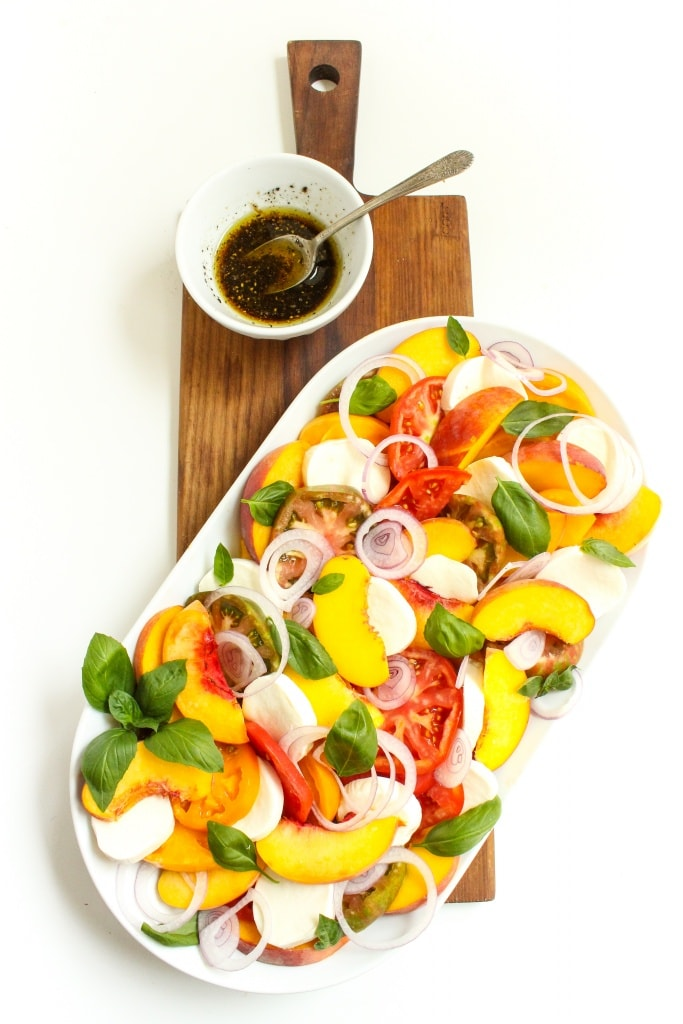 heirloom tomato peach caprese salad