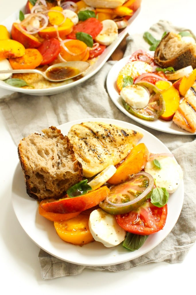 heirloom tomato peach caprese salad dinner
