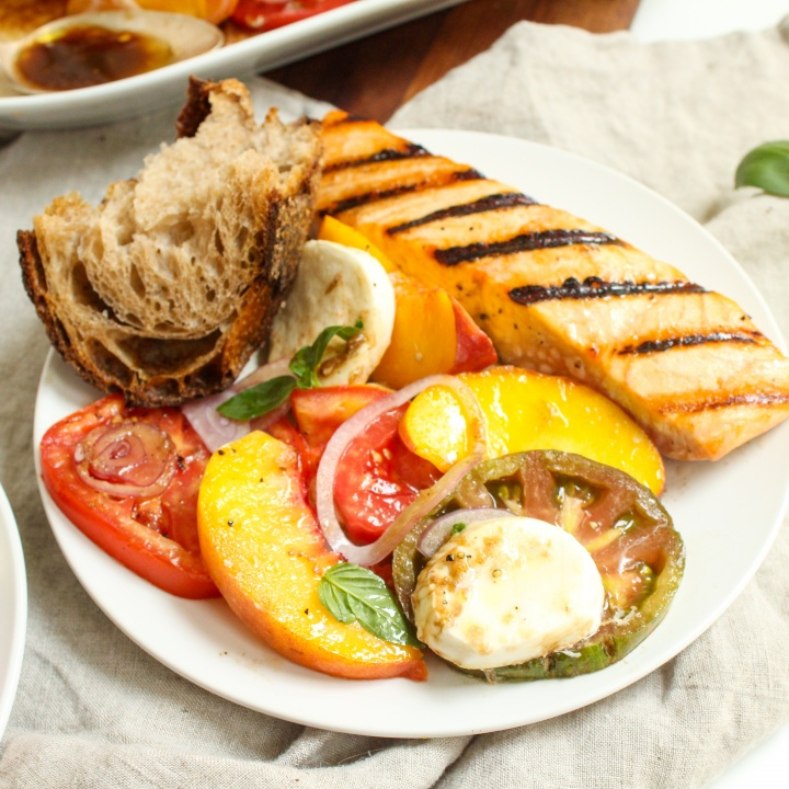 heirloom tomato peach caprese salad full dinner