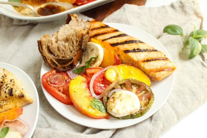 heirloom tomato peach caprese salad full dinner