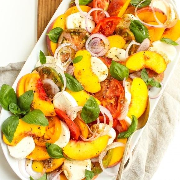 heirloom tomato peach caprese salad4