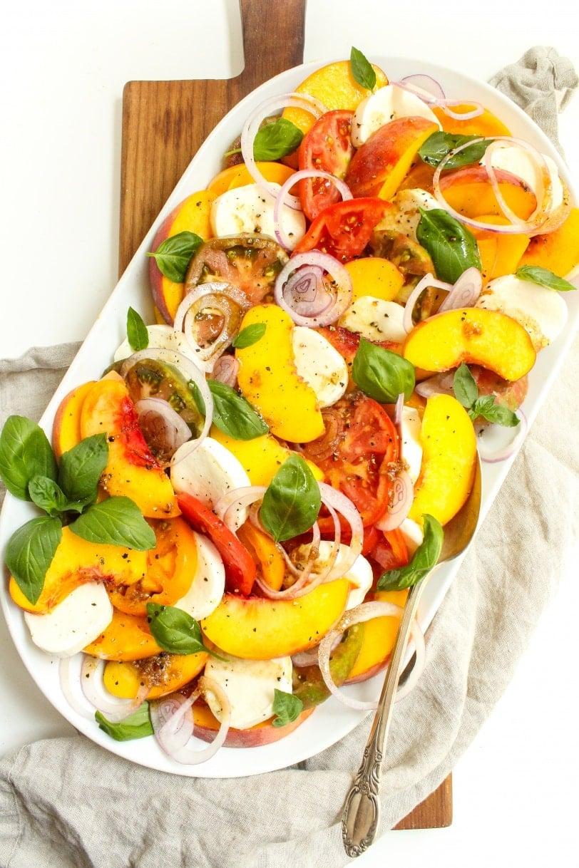 heirloom tomato peach caprese salad