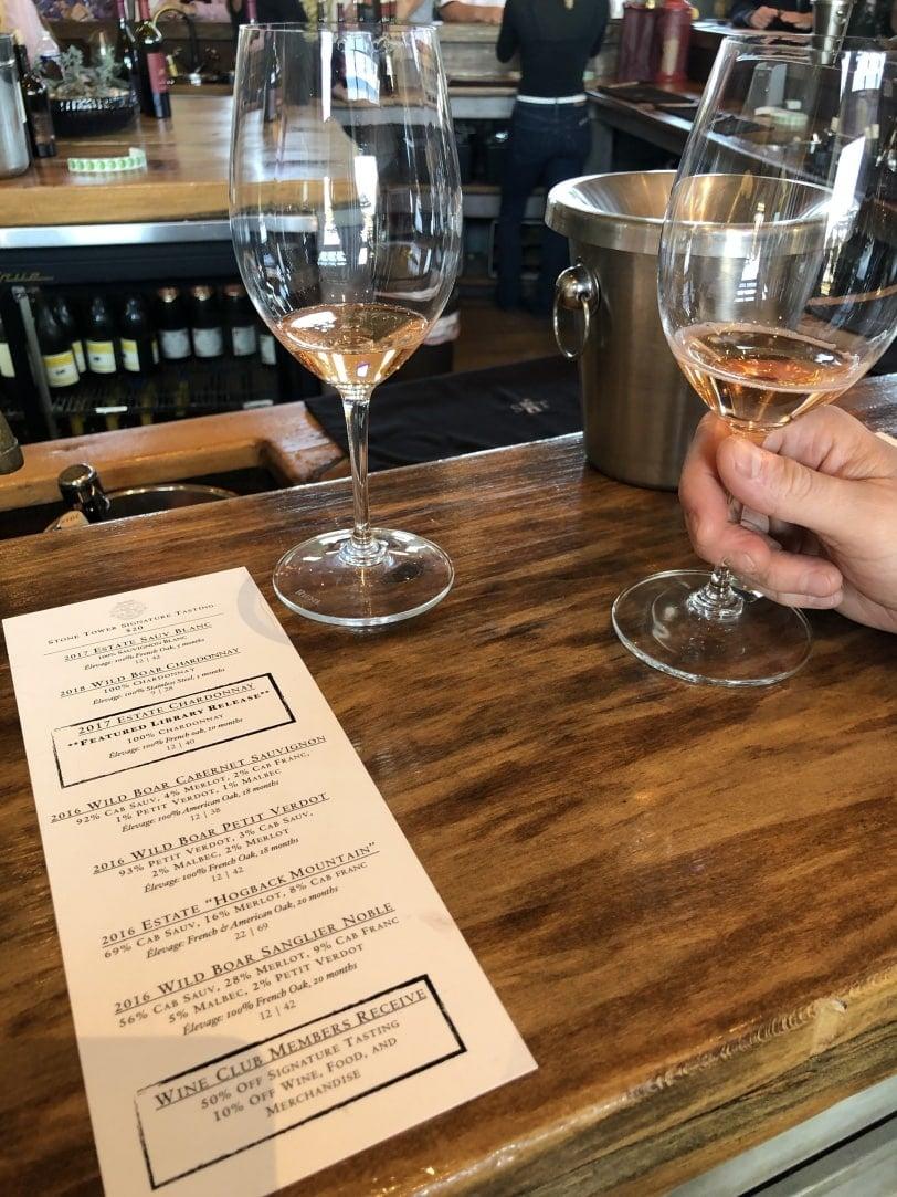 stone tower winery tasting