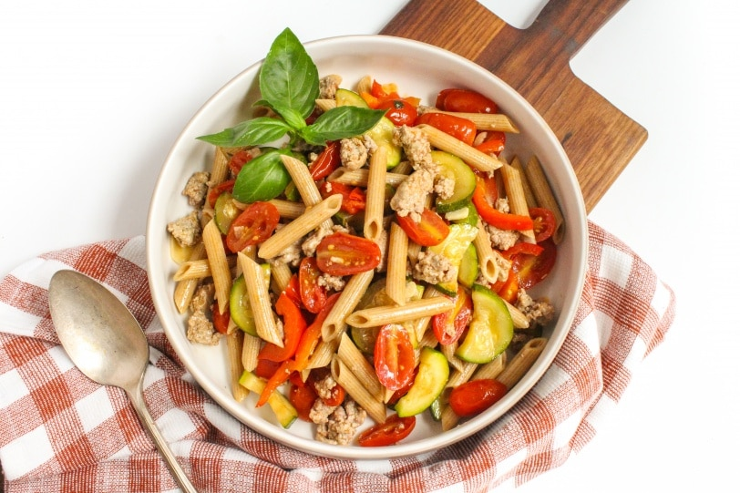 Whole Wheat Penne + Ground Turkey + Zucchini & Peppers + Cherry Tomato & Garlic Sauce