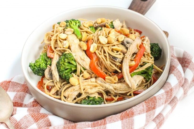 Whole Wheat Spaghetti + Rotisserie Chicken + Peppers, Broccoli & Mushrooms + Creamy Peanut Sauce