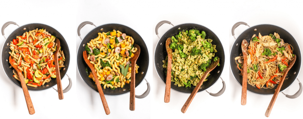 four healthy pasta dinners in a skillet