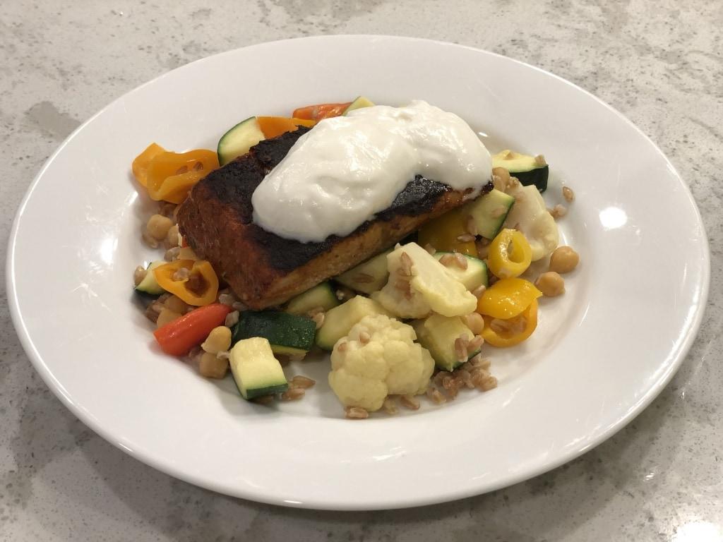 salmon with yogurt and farro veggies